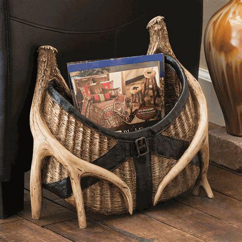 fishing creel  antler magazine rack
