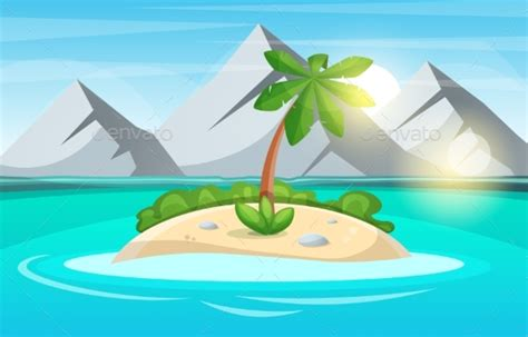 Island Cartoon. Sea And Sun. By Rwgusev