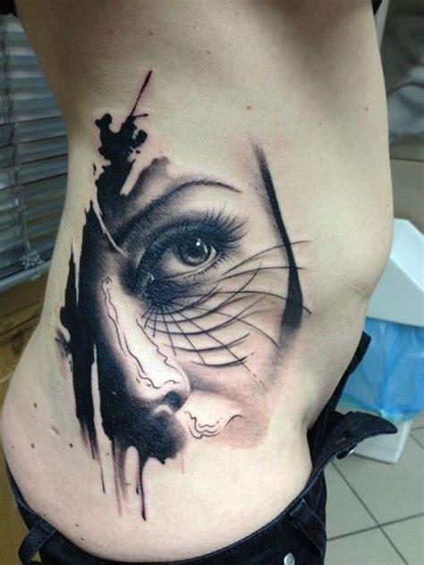 real photo  black  white original woman face tattoo