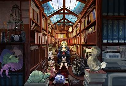 Library Anime Club Books Wallpapers Background Deviantart