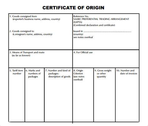 certificate of origin template 15 certificate of origin templates sles exles format sle templates
