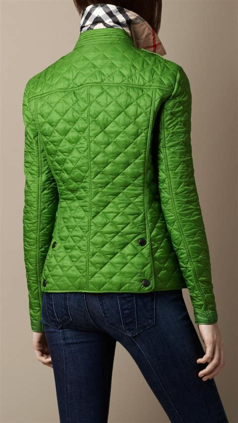 lyst burberry brit cropped quilted jacket  green