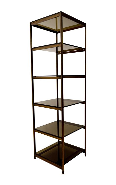 Brass And Glass Etagere - vintage brass and smoked glass etagere shelf chairish