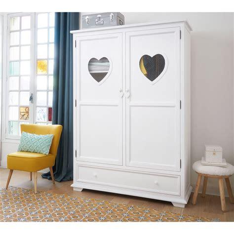 White Wooden Wardrobe by Wooden Wardrobe In White W 130cm Maisons Du Monde