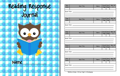 reading response journal cover 8 best images of printable reading response journal