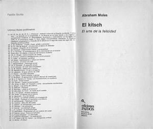 Abraham Moles  El Kitsch  Arte De La Felicidad  Pdf