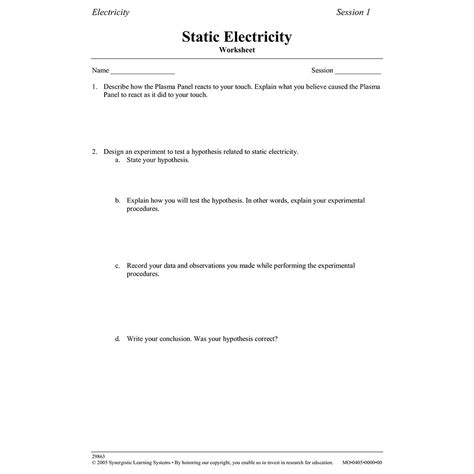 Static Electricity Worksheet (w29863