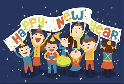 Eve Silvester Celebration Clipart Familie Years Kinder