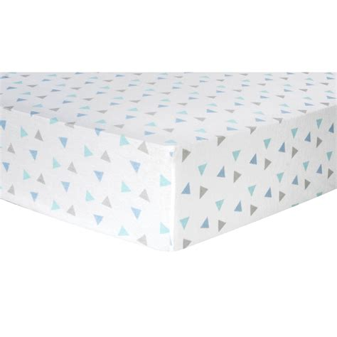 flannel crib sheets trend lab mint triangles flannel fitted crib sheet
