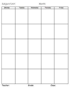 akin template blank planning calendar vertical by caryn akin tpt
