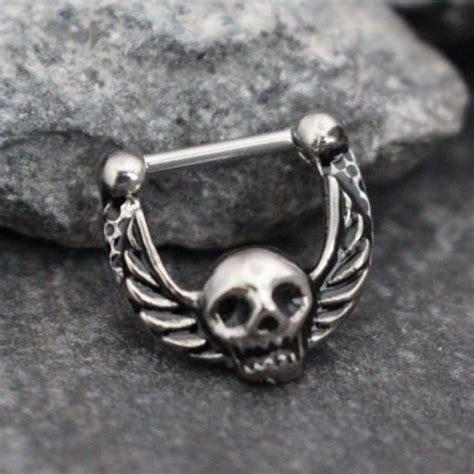 skull clicker septum ring clicker silver septum clicker
