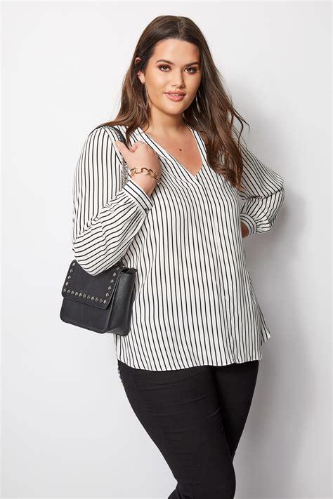 Weiß & Schwarz Gestreifte Bluse, Große Größen 4458