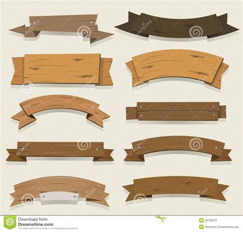 cartoon wood banners  ribbons stock vector image