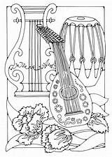 Coloring Musical Instrument Instruments Popular sketch template