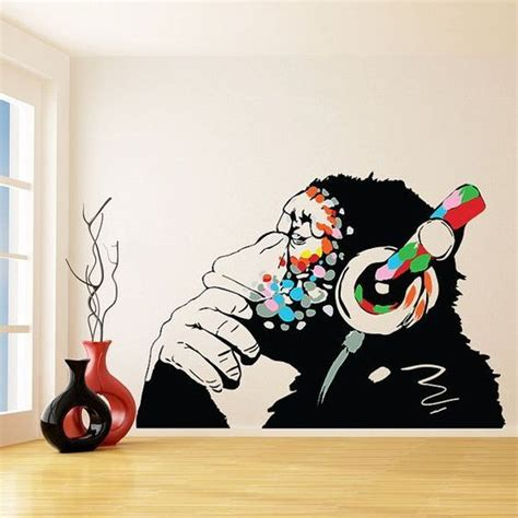 banksy thinking monkey sticker art vinyl street dj baksy