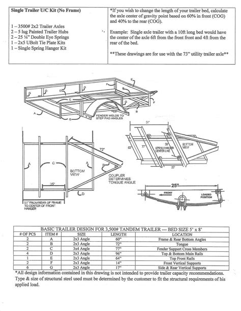 Boat Trailer Undercarriage 73 quot single undercarriage trailer kit build your own