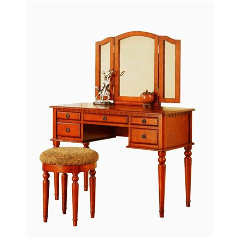bobkona st croix collection vanity set with stool white poundex bobkona st croix vanity set with stool in walnut