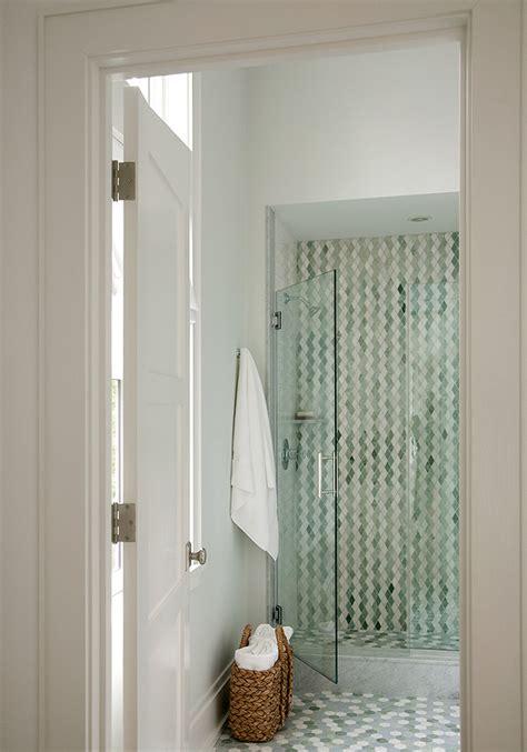 green hex tiles  shower floor contemporary bathroom