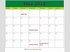 Images And Clipart May 2018 Calendar A4 Printable Template