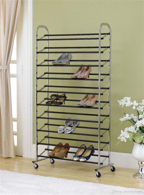 standing  tier shoe tower rack  wheel chrome metal shoe rack max