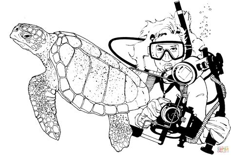 green sea turtle  scuba diver coloring page