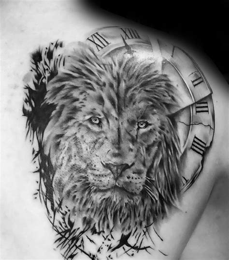 lion shoulder tattoo designs  men masculine ink ideas