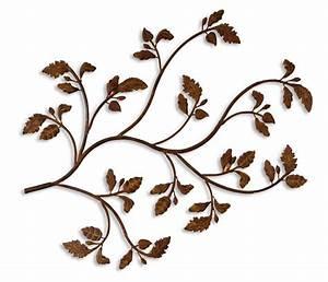 Metal wall art leaves branch : Rustic leafy branch floral metal wall art