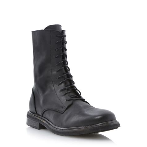 black lace up biker boots new dune mens combustion black leather lace up military