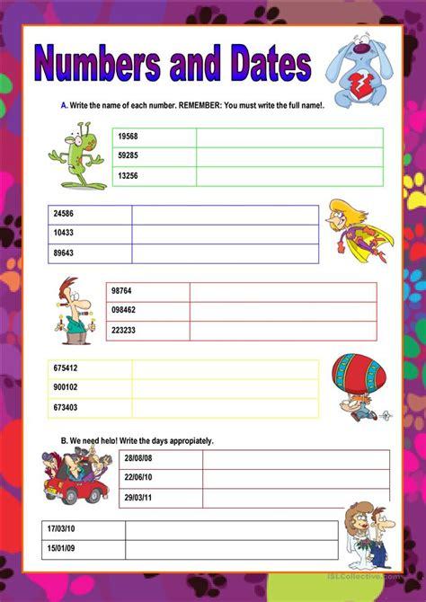 numbers and dates worksheet free esl printable worksheets made by teachers