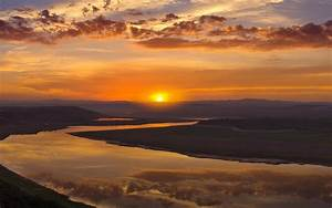 Sunset Mountains Clouds Landscapes Rivers Reflections High ...