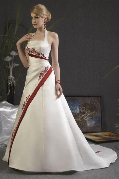 red  white wedding dress   halter neck hot peace