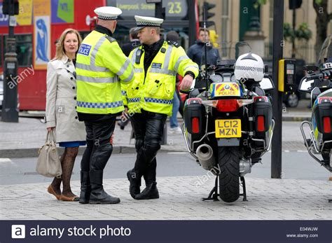 London England Uk Two Motorcycle Police Officers In