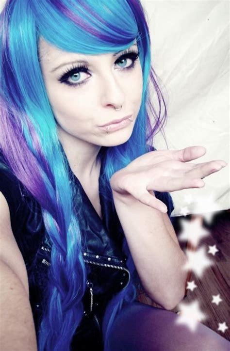 Blue Purple Emo Scene Hair Style Girl Bibi Barbaric