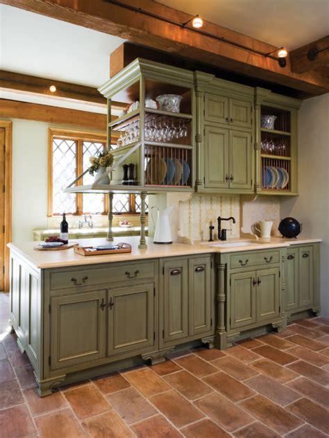 Mediterranean Kitchen Cabinets, Blue Glass Backsplash