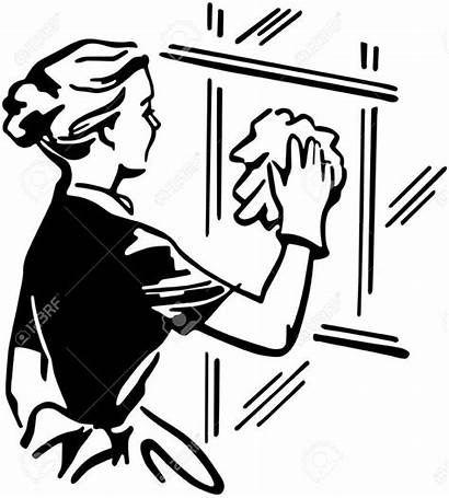 Cleaning Window Clipart Woman Clip Illustration Wash