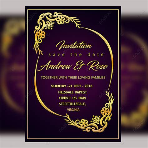 purple wedding invitation card template psd file