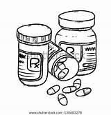 Drug Bottles Pills Drawing Vector Cartoon Drugs Capsules Shutterstock Illustration Sketch Drawn Display Thumb1 Lightbox sketch template