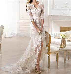 robe mariage vintage vintage v neck high low lace wedding dresses 2014 robe de mariage see through bridal gowns