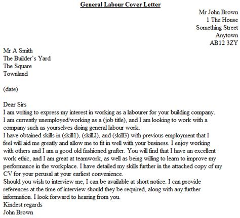 Cover Letter For Laborer Position by General Labour Cover Letter Exle Icover Org Uk