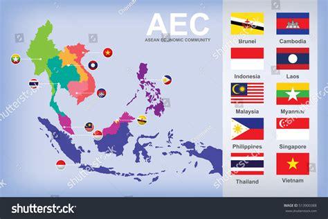 asean economic community aec map map aec asean economic community flags stock vector asea