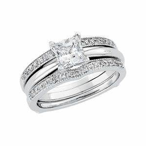 princess cut solitaire engagement ring with a diamond With wedding ring enhancers princess cut