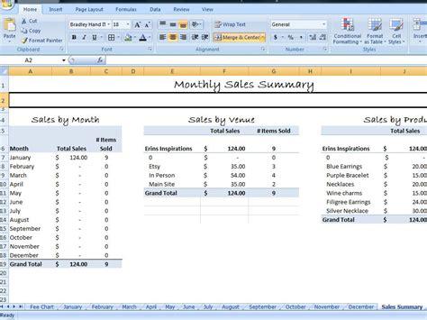 simple sales summary template excel