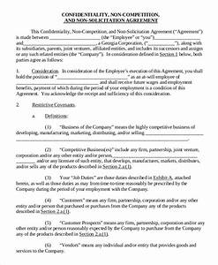 employee non compete agreement 10 free word pdf With business templates noncompete agreement