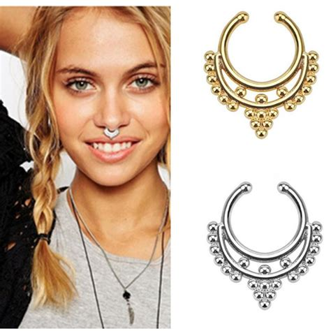 surgical steel titanium gold silver plated fake nose ring