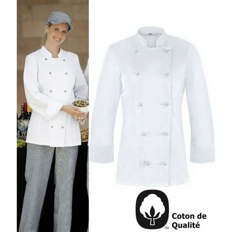 veste de cuisine femme l 233 g 232 rement cintr 233 e oeilllets d a 233 ration coton peut bouillir