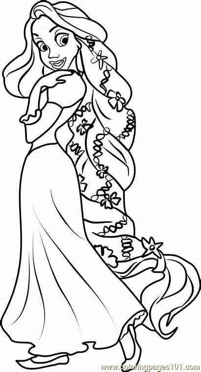Rapunzel Coloring Princess Disney Pages Princesses Characters