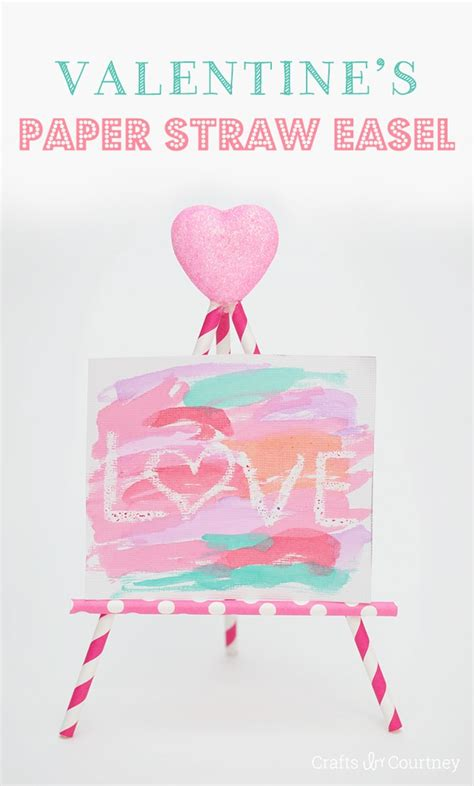 kids decorative paper straw easels craft  valentines