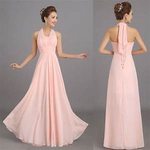 new halter peach pink long chiffon bridesmaid dresses With cheap plus size formal dresses for weddings