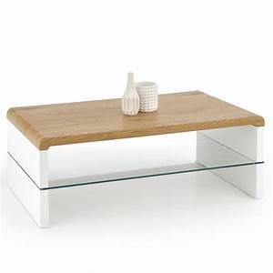 Table Basse Blanc Bois : table basse design pieds blanc plateau mdf couleur bois 110 cm texon so inside ~ Teatrodelosmanantiales.com Idées de Décoration