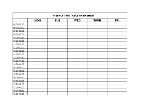 time chart template 6 best images of printable weekly time chart blank